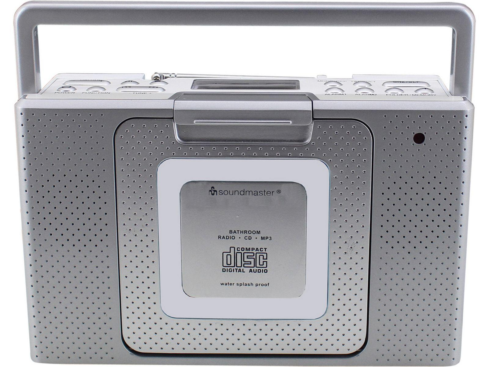 Front View Of Soundmaster Bcd480 Splashproof Portable Fm Radio Cd Player In Silver