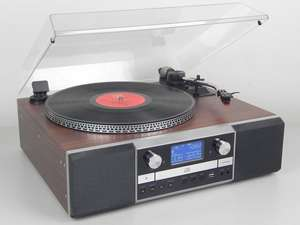 With the resurgence in popularity of playing vinyl and cassettes, this soundmaster PL905 Retro CD Writer Record Player Turntable is a perfect answer to rediscovering your music collection and bring it back to life through superb high quality speakers.