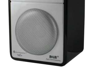zoom speaker view of soundmaster DAB100 Rechargeable FM / DAB Radio in black