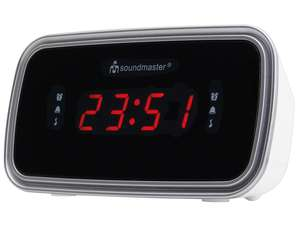 The soundmaster UR106 Retro Alarm Clock Radio is a great bedside alarm clock radio in finished in either Black or White trim that is suitable for all rooms and spaces.