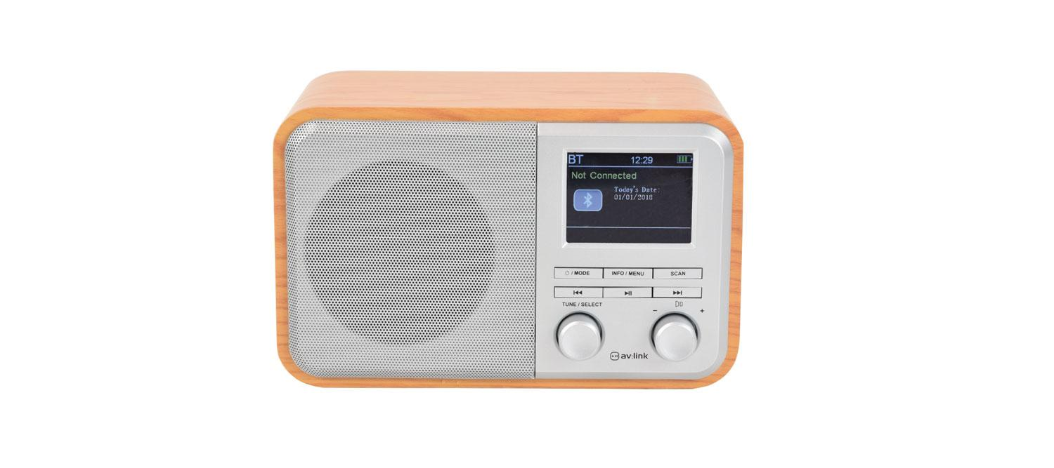 AV:Link Rechargeable FM & DAB+ Radio with Bluetooth front view