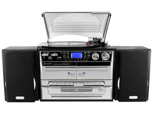 The soundmaster MCD4500USB HiFi System FM Radio CD / Twin Cassette Record Player Turntable is a superb home audio system that will stand out and make your audio an integral part of your space.