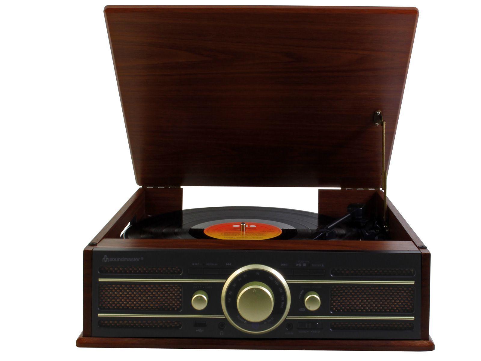 Soundmaster Pl550br Retro Vinyl Record Player Amp Fm Radio