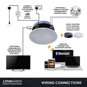 diagram of how to install and connect lithe audio waterproof ceiling speakers
