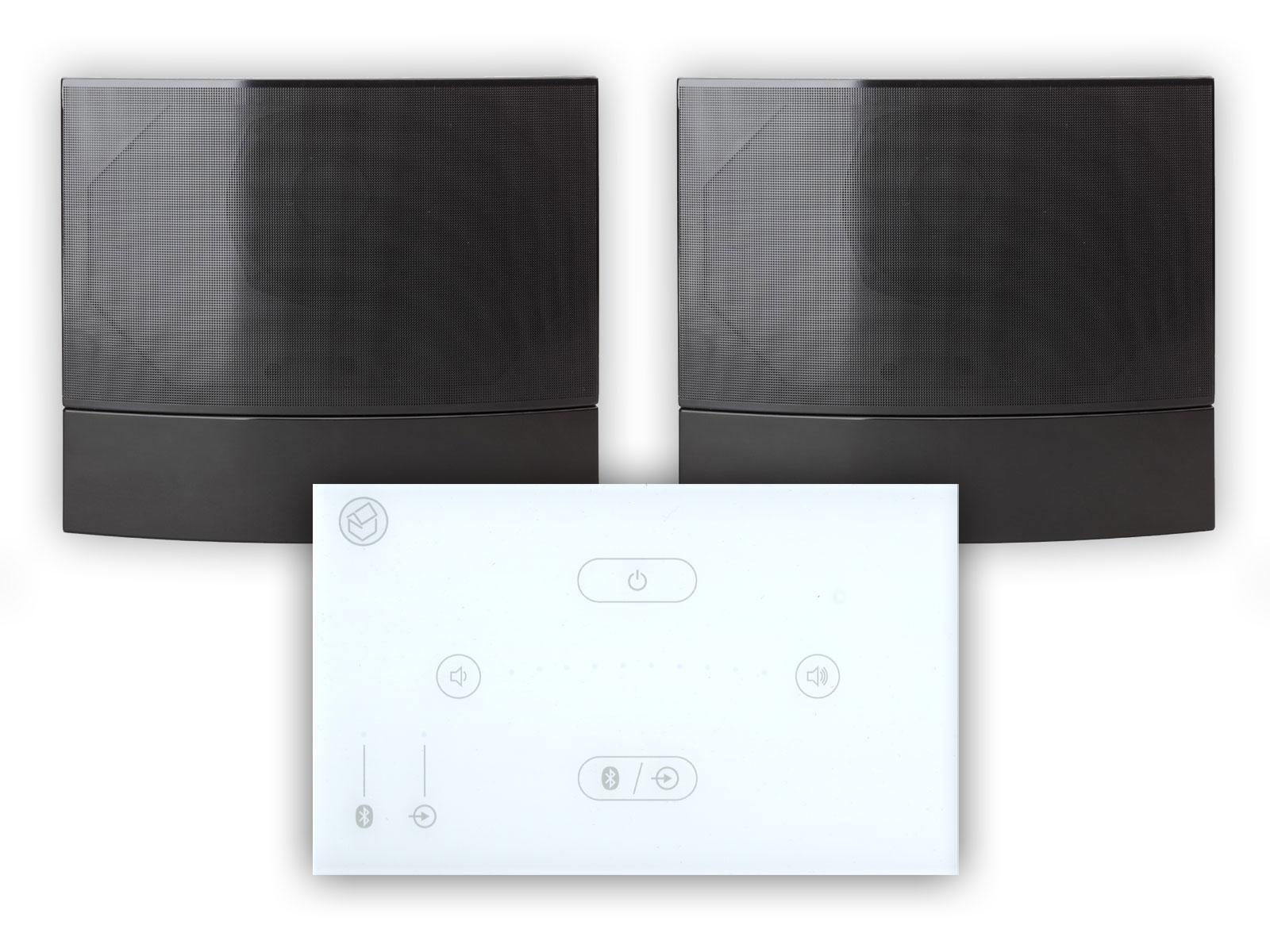 Systemline E50 White with M-02 Black On Wall Speakers