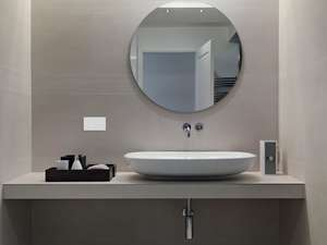 bathroom sink and bathroom mirror with systemline e50 white