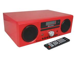 Roadstar HRA-9D+BT front in gloss red with remote