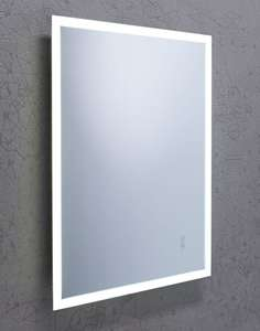 zoom view of forte bluetooth mirror in bathroom
