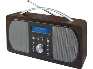 full view of soundmaster DAB600 Portable FM / DAB Radio in dark brown