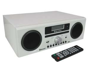 Roadstar HRA-9D+BT front in gloss white with remote