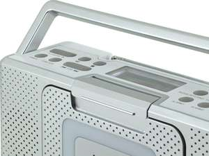 Close-up of top left buttons of soundmaster BCD480 Splashproof Portable FM Radio & CD Player in silver