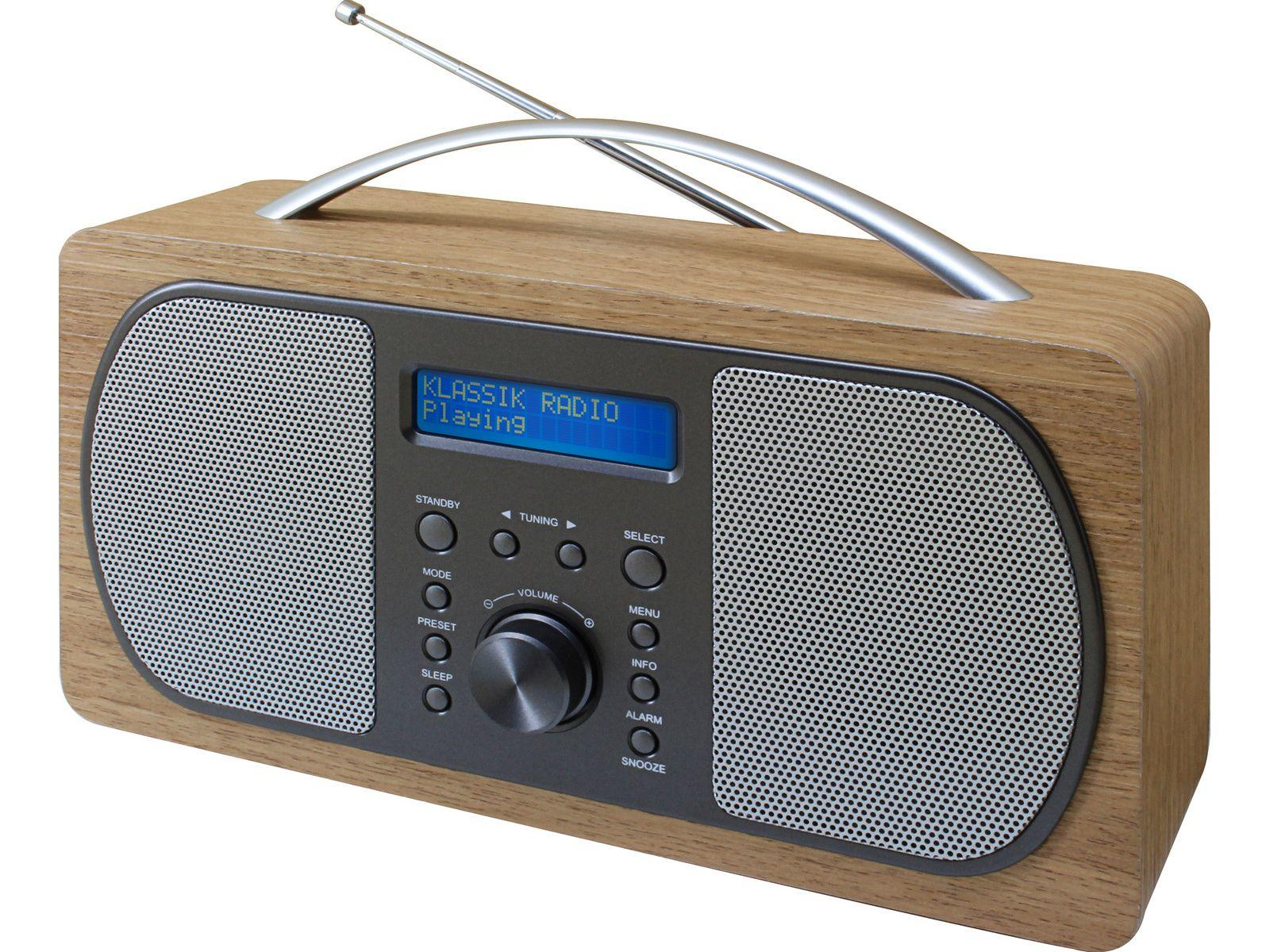 full view of soundmaster DAB600 Portable FM / DAB Radio in light brown