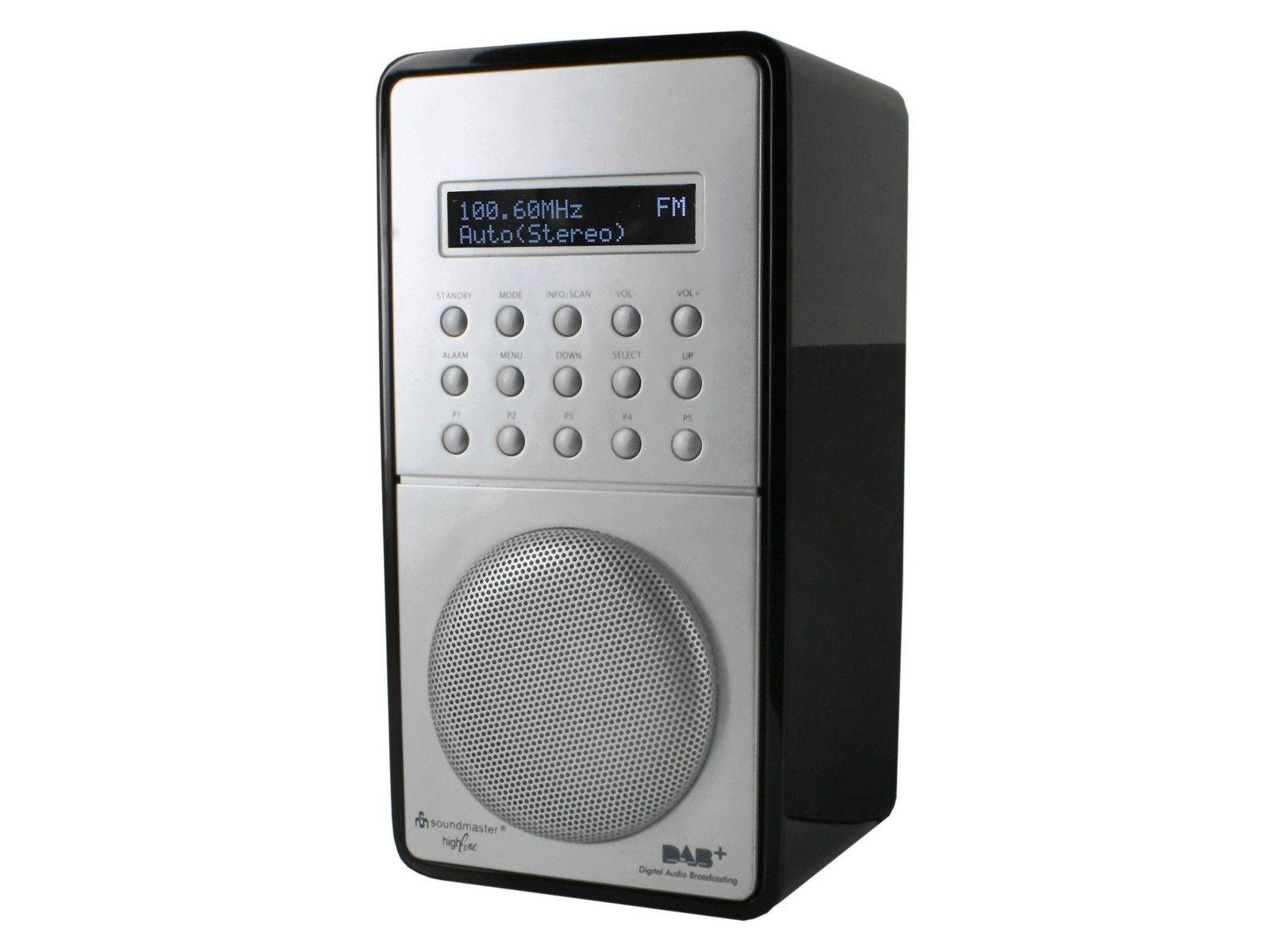 front view of soundmaster DAB100 Rechargeable FM / DAB Radio in black