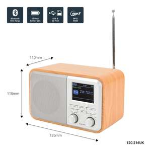 AV:Link Rechargeable FM & DAB+ Radio with Bluetooth with dimensions