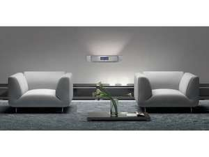 grey lounge and sofa with soundmaster BT1308SI Wall Mountable Bluetooth Speaker & FM Clock Radio