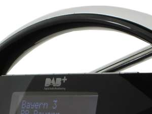 zoom view of handle of soundmaster DAB200 Portable FM / DAB Radio