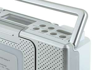 Close-up of top right buttons of soundmaster BCD480 Splashproof Portable FM Radio & CD Player in silver