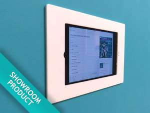 ipad mini wall mount on blue wall