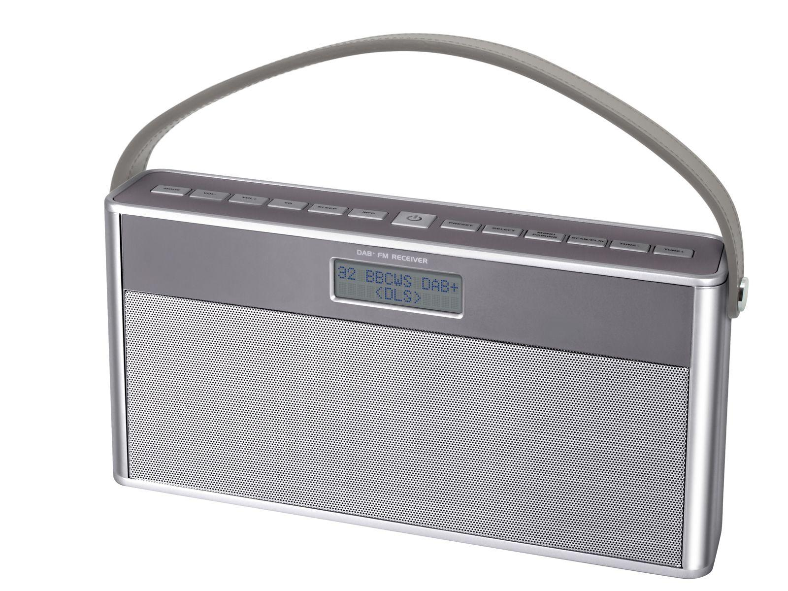 angled full view of soundmaster DAB750SI Portable Rechargeable Bluetooth FM / DAB Radio