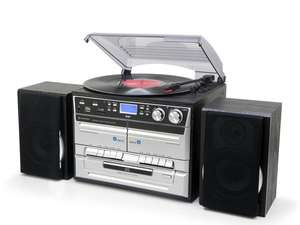soundmaster MCD5500 HiFi System with FM / DAB Radio, Twin Cassette, CD & Record Player Turntable