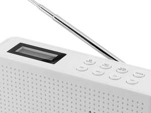 close up top button view of soundmaster DAB150 Rechargeable Portable FM / DAB Radio in white