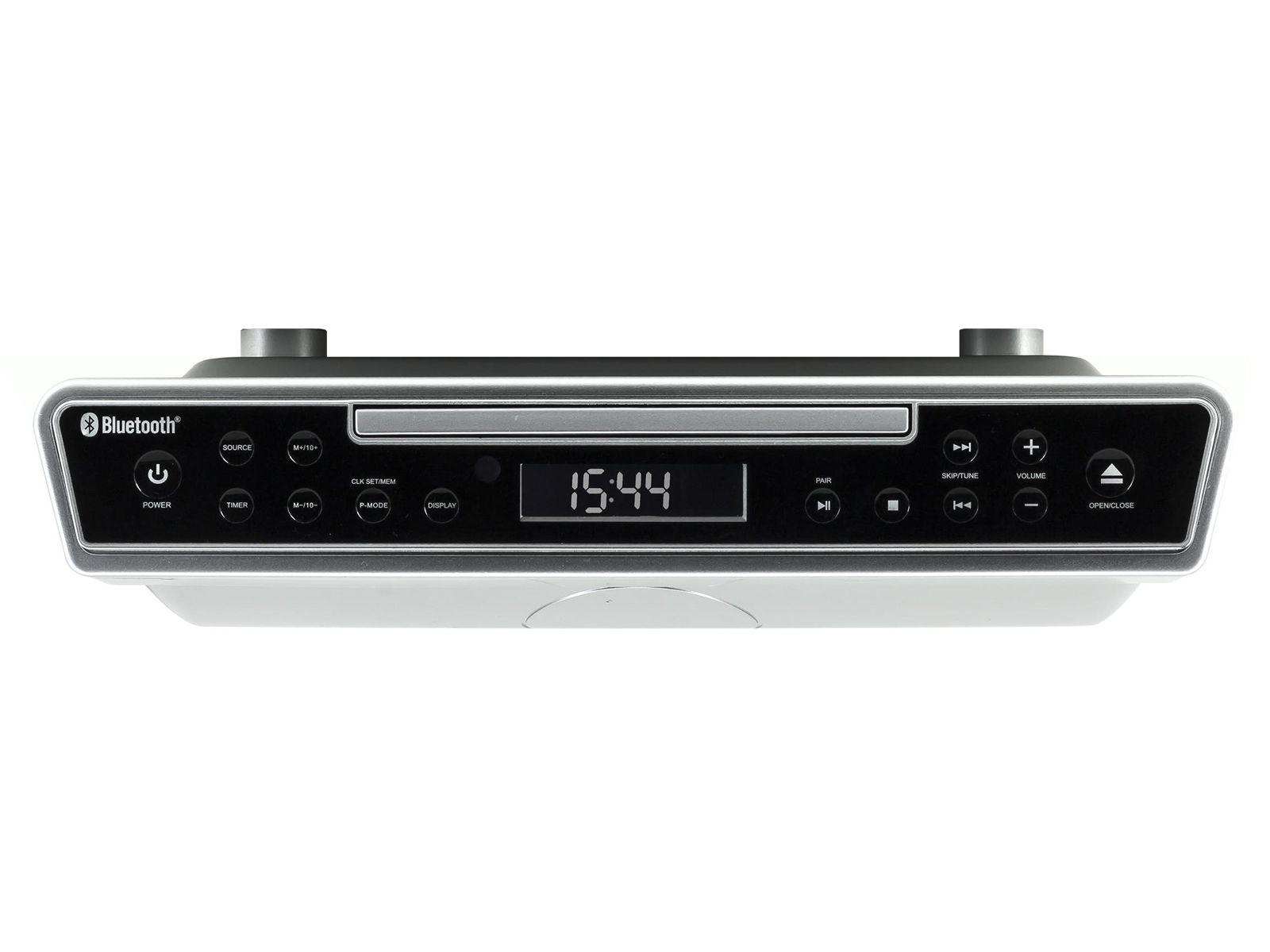 Front view of soundmaster UR2090SI Under Cabinet Kitchen FM Radio with Bluetooth & CD Player