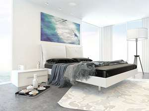 Bedroom environment with lithe audio bluetooth ceiling speaker at top
