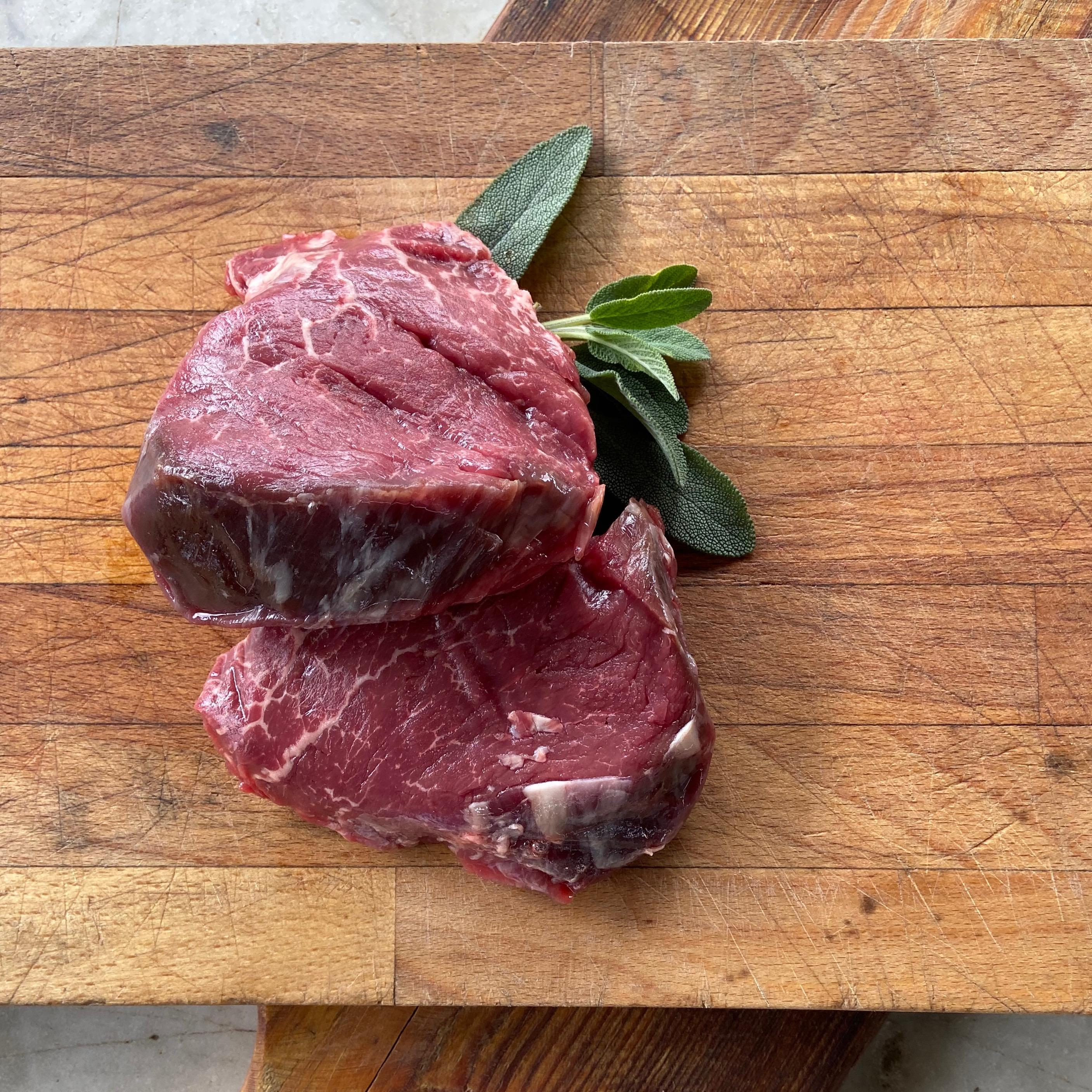 Organic, 100% grass fed fillet steak from Longhorn beef