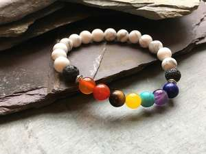 7 Chakras and Howlite Bead Bracelet with Lava Stone-Liv Beads-Olivia Esme Jewellery and Gifts