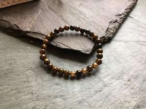 6mm Tigers Eye and Rose Gold Coloured Bead Bracelet.-Liv Beads-Olivia Esme Jewellery and Gifts