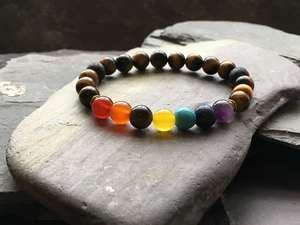 7 Chakra and Tigers Eye Bead Bracelet with Lava Stone-Liv Beads-Olivia Esme Jewellery and Gifts