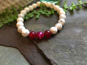 White Howlite and Pink Onyx Bead Bracelet-Liv Beads-Olivia Esme Jewellery and Gifts