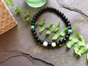 Onyx, Howlite and Turquoise 6 mm Beaded Bracelet-Liv Beads-Olivia Esme Jewellery and Gifts