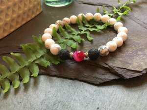 White Howlite, Pink Onyx and Lava Stone Bead Bracelet. Great for Essential Oils Aromatherapy-Liv Beads-Olivia Esme Jewellery and Gifts