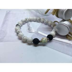 Howlite, Baby Blue Regalite and Lava Stone Bead Bracelet.-Liv Beads-Olivia Esme Jewellery and Gifts