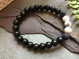 Black Onyx, Lava Stone and White Howlite Bead Bracelet-Liv Beads-Olivia Esme Jewellery and Gifts