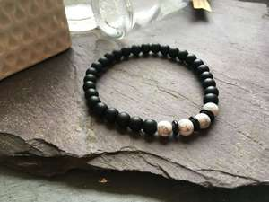 6mm Black Onyx and White Howlite Bead Bracelet-Liv Beads-Olivia Esme Jewellery and Gifts