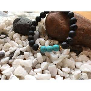 Lava Rock and Fresh Green Turquoise Bead Bracelet-Liv Beads-Olivia Esme Jewellery and Gifts