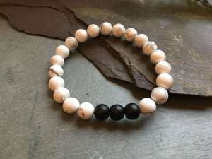 White Howlite and Matte Black Onyx Stone Bead Bracelet-Liv Beads-Olivia Esme Jewellery and Gifts