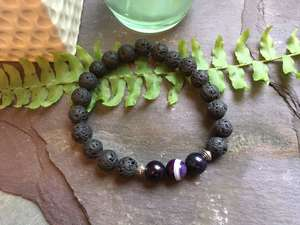Aromatherapy Essential Oils Diffuser Bead Bracelet. Lava Rock Stone and Purple Onyx-Liv Beads-Olivia Esme Jewellery and Gifts