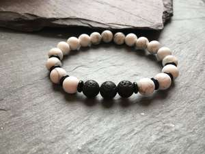 Howlite, Onyx and Lava Stone Diffuser Bracelet-Liv Beads-Olivia Esme Jewellery and Gifts