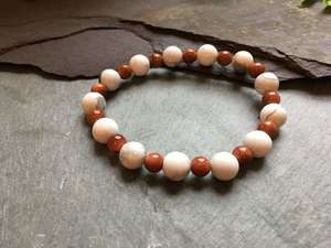 Howlite and Goldstone Beaded Bracelet-Liv Beads-Olivia Esme Jewellery and Gifts