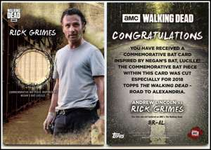 Rick Grimes #BR-AL The Walking Dead Road To Alexandria Topps Bat Relic Card