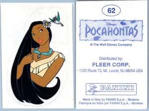 Pocahontas #65 Panini 1995 Disney Sticker