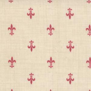 Moda Rouenneries Deux - Pearl and Faded Red Fleur De Lis