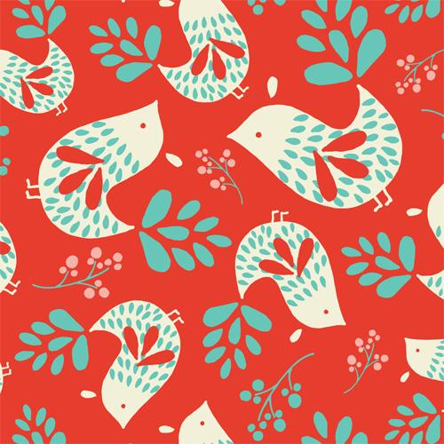 Camelot Fabrics - Folklore - Birds in Ruby