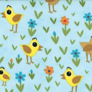 Moda Oink A Doodle Moo - Sky Chicks and Daisies