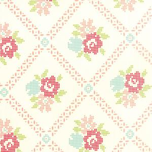 Moda Vintage Picnic - Cream Coral Mayberry Mum