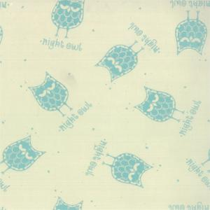 Moda Little Things Organics - Aqua on Cream Night Owls 14090-11