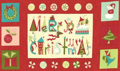 Moda Very Merry - Christmas Panel Red